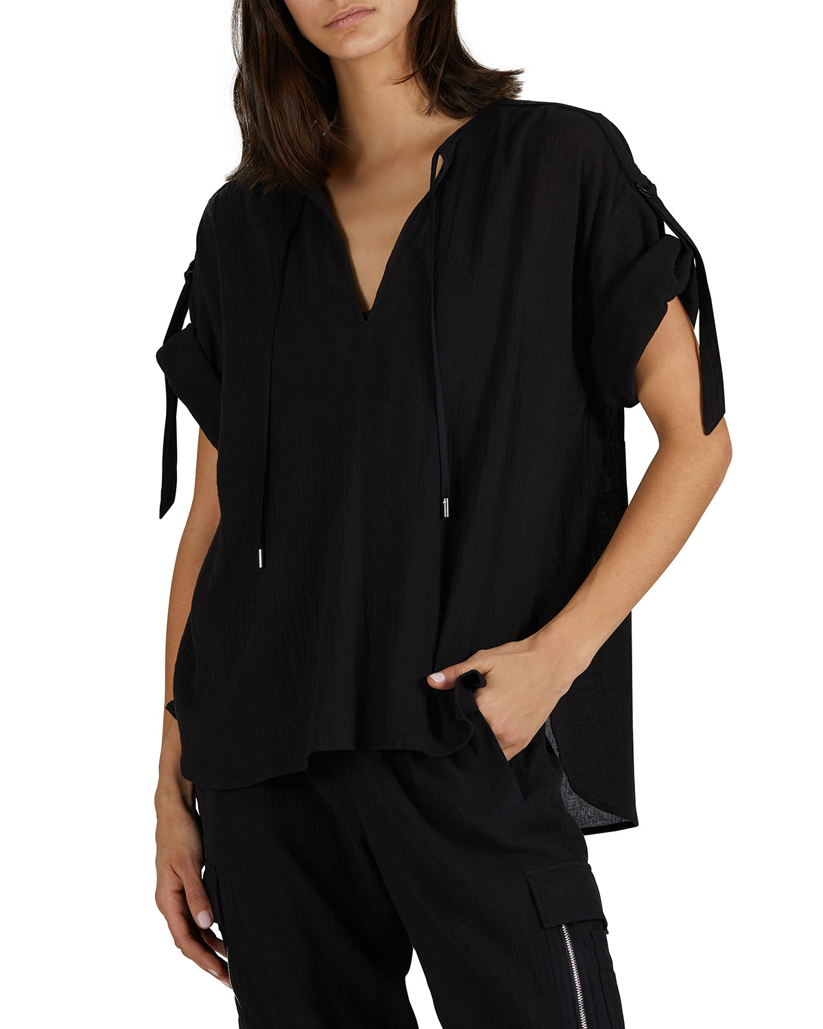Cotton Gauze Rolled-Sleeve Top