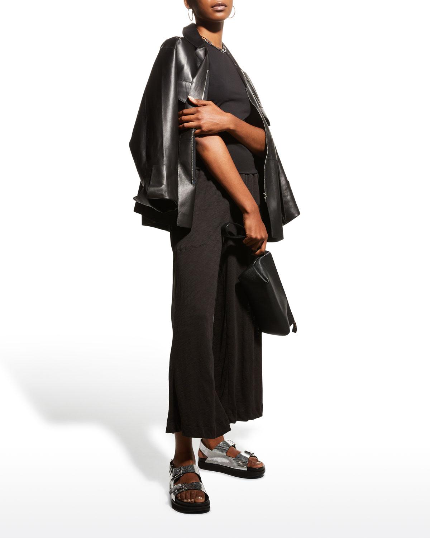 Slub Jersey Fold-Over Wide-Leg Pants