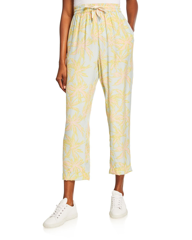 Palm-Print Silk Charmeuse Pull-On Pants