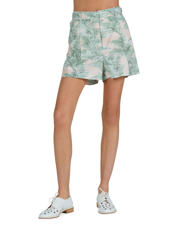 Palm-Print Cotton Pleated Shorts