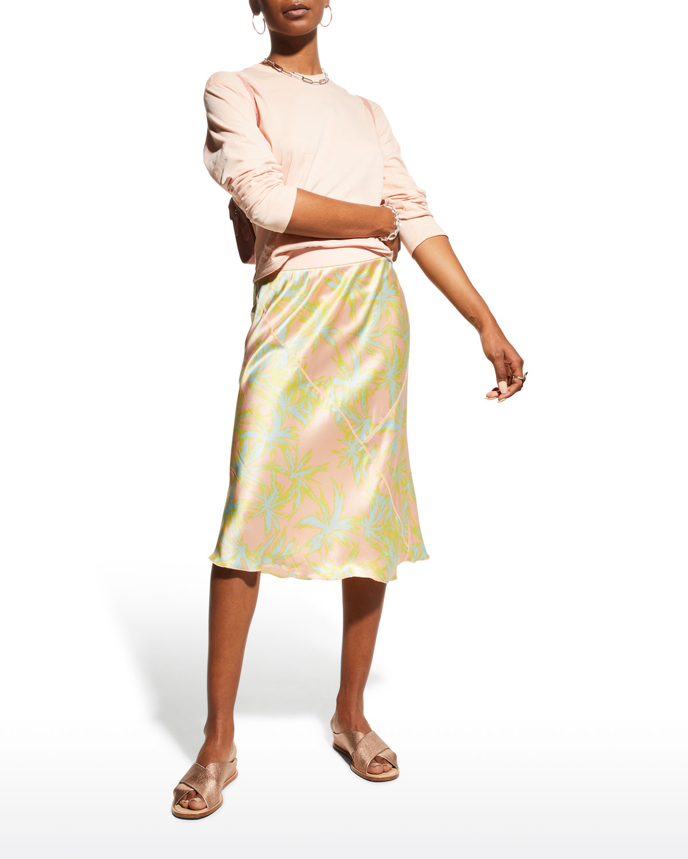Palm-Print Silk Charmeuse Skirt