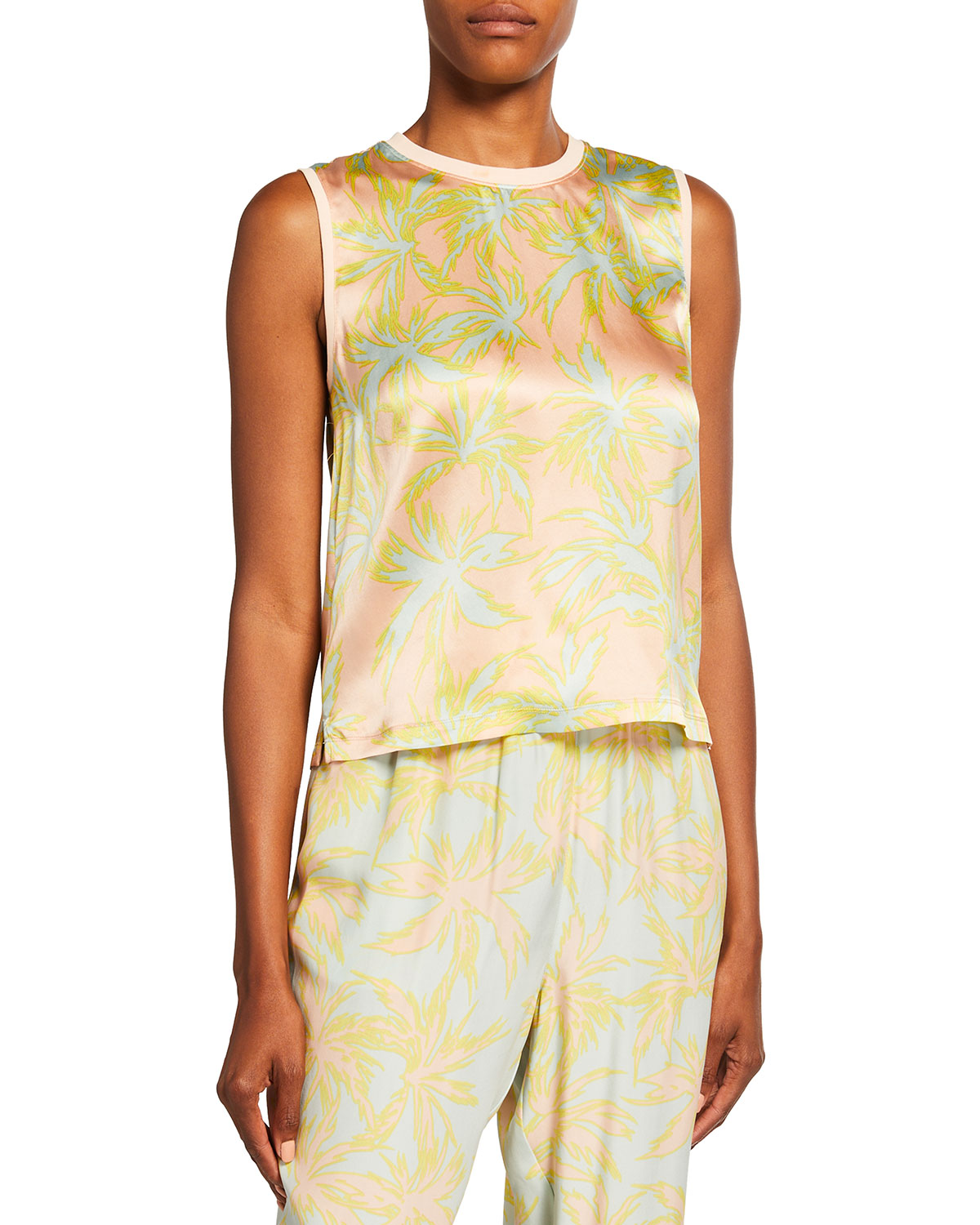 Palm-Print Silk Charmeuse Cropped Muscle Tee