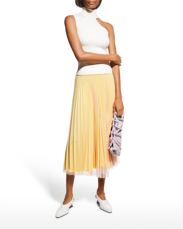 Pleated Layered Midi Skirt