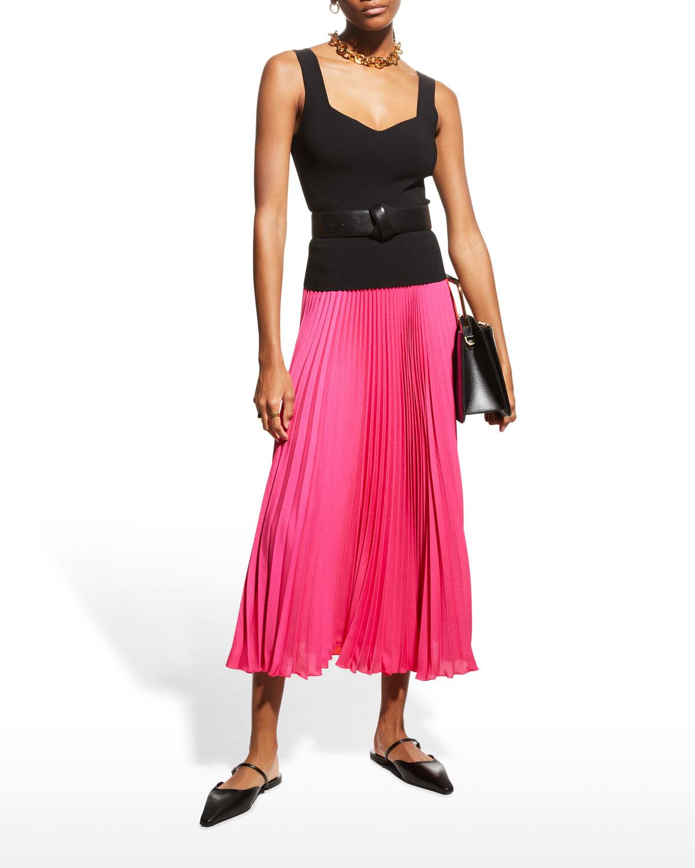 Pleated Tea-Length Skirt
