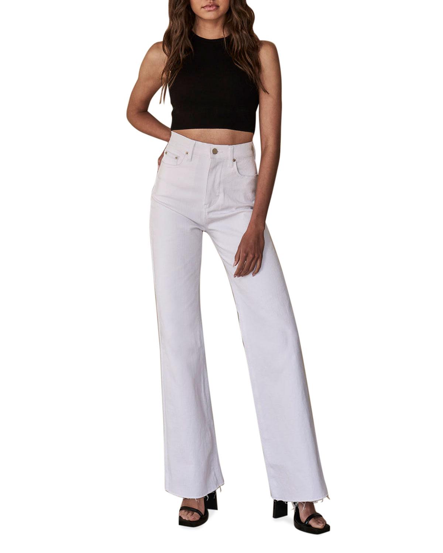 Billie Wide-Leg Frayed-Hem Jeans