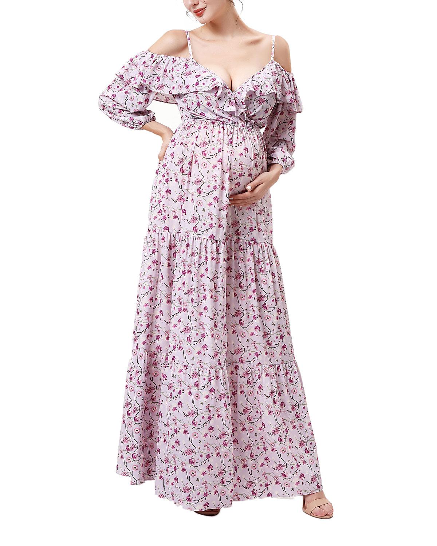 Maternity Raina Floral-Print Cold-Shoulder Maxi Dress