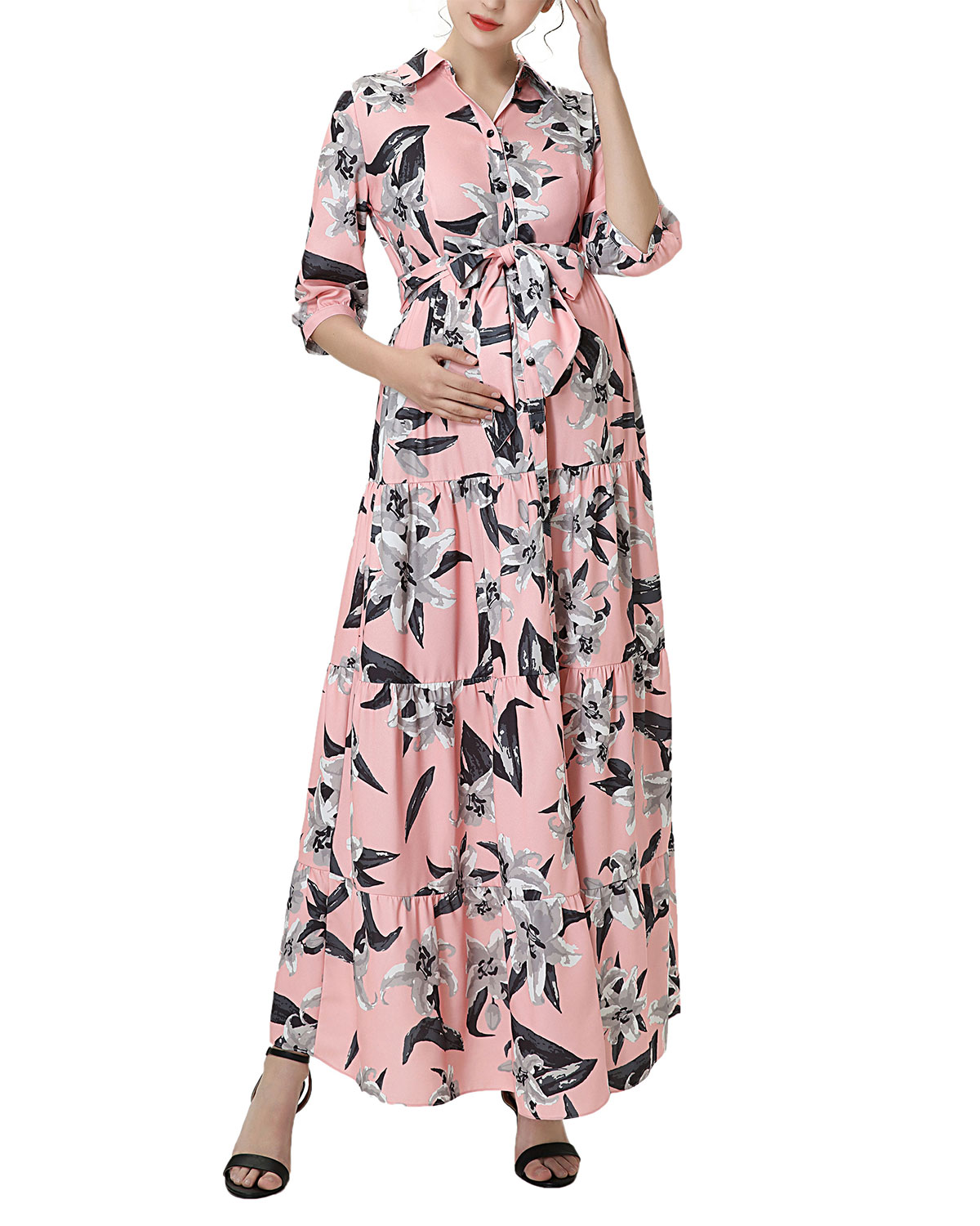 Maternity Cora Floral Button-Front Maxi Dress