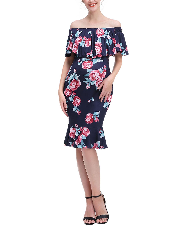 Maternity Kathryn Off-Shoulder Floral-Print Dress