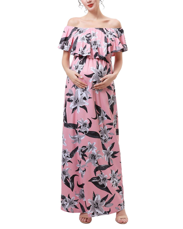 Maternity Clara Floral Off-Shoulder Maxi Dress