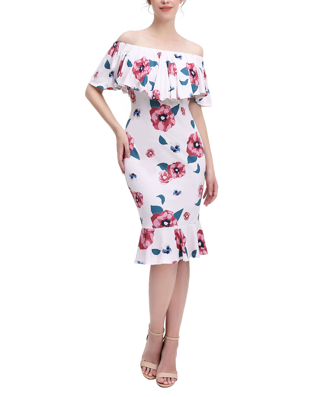 Maternity Kyla Floral Off-the-Shoulder Dress