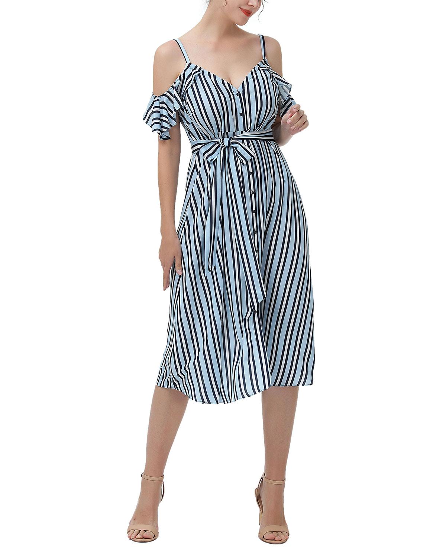 Maternity Hayley Striped Cold-Shoulder Dress