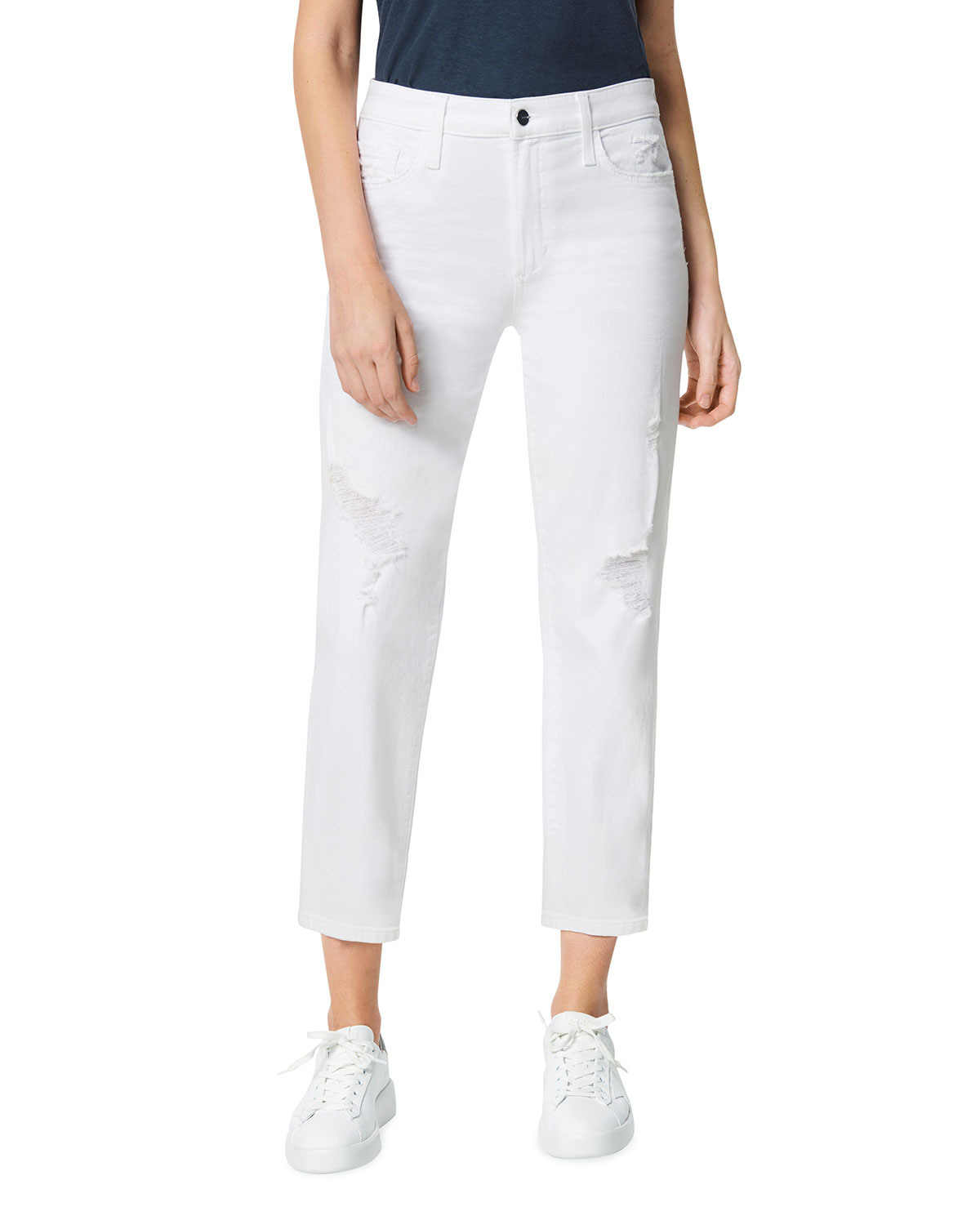 The Scout Mid-Rise Cropped Jeans with Button Placket