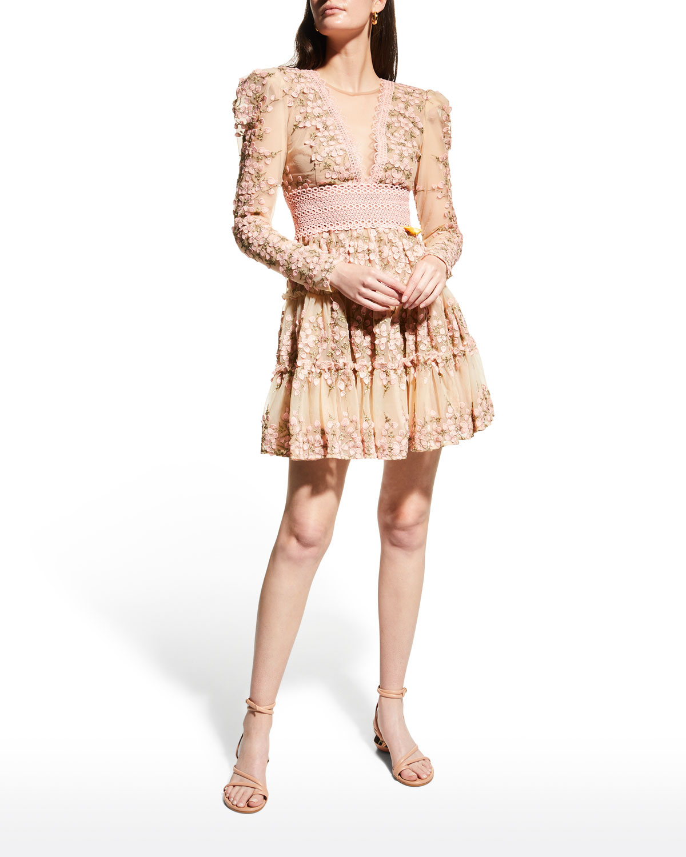 Megan Lace Floral-Applique Mini Dress