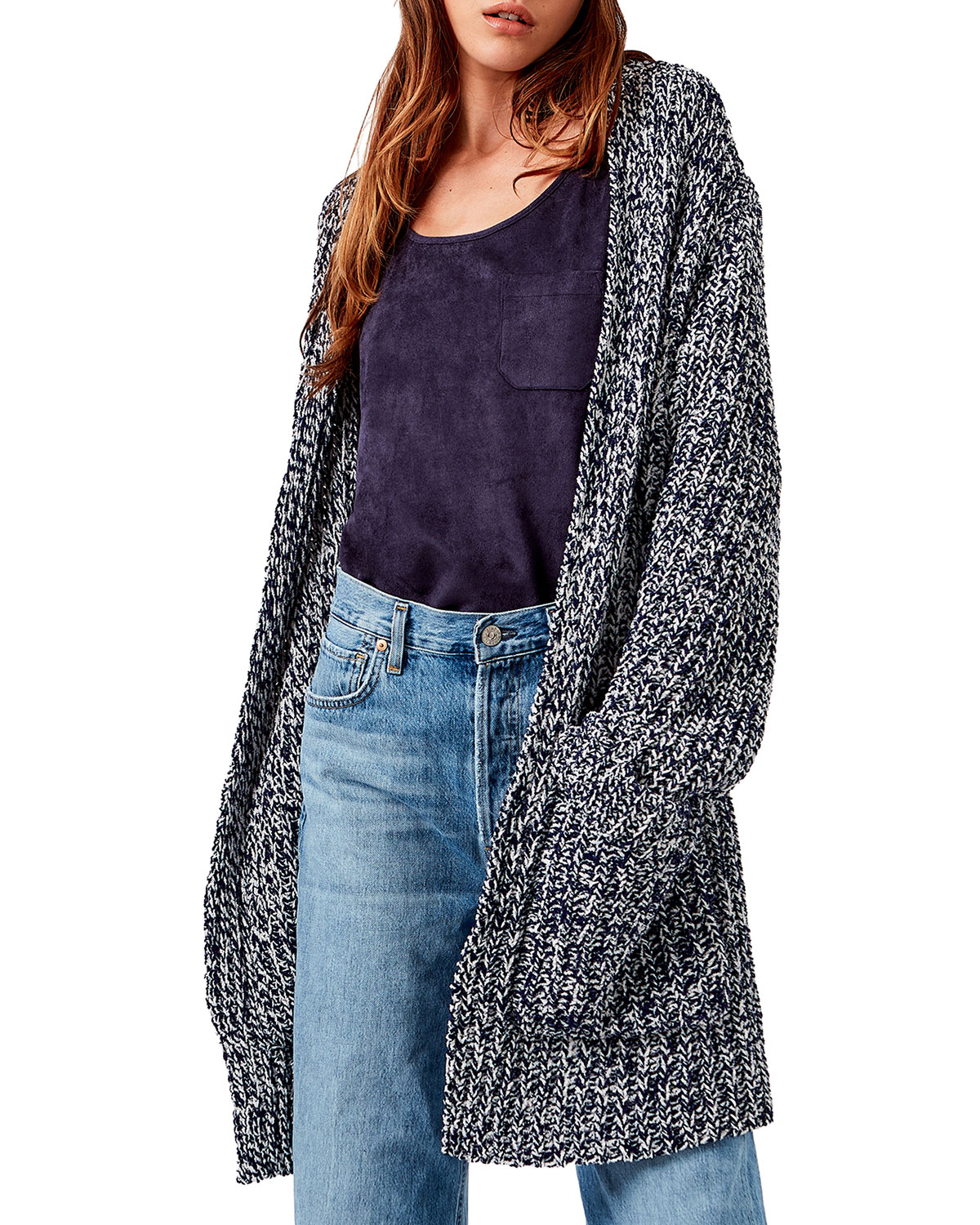 Frosting Mid-Length Chenille Cardigan