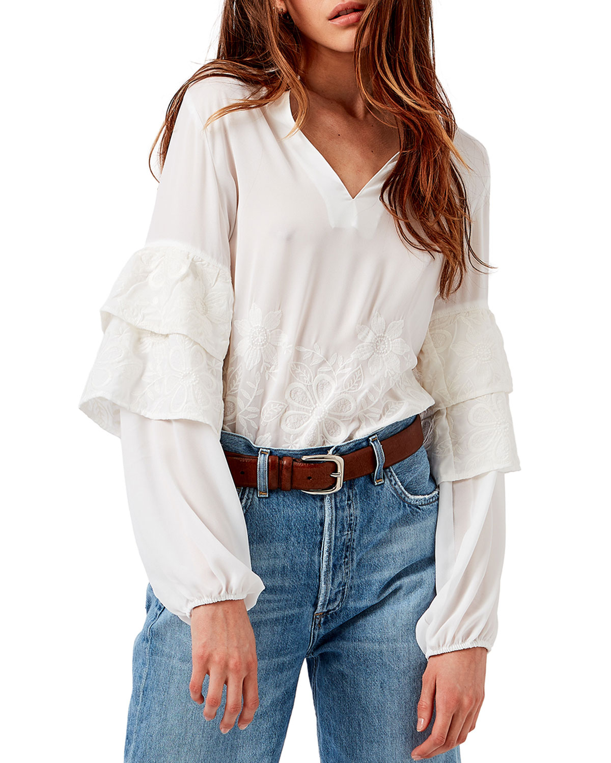 Piazza Embroidered Ruffle-Sleeve Blouse