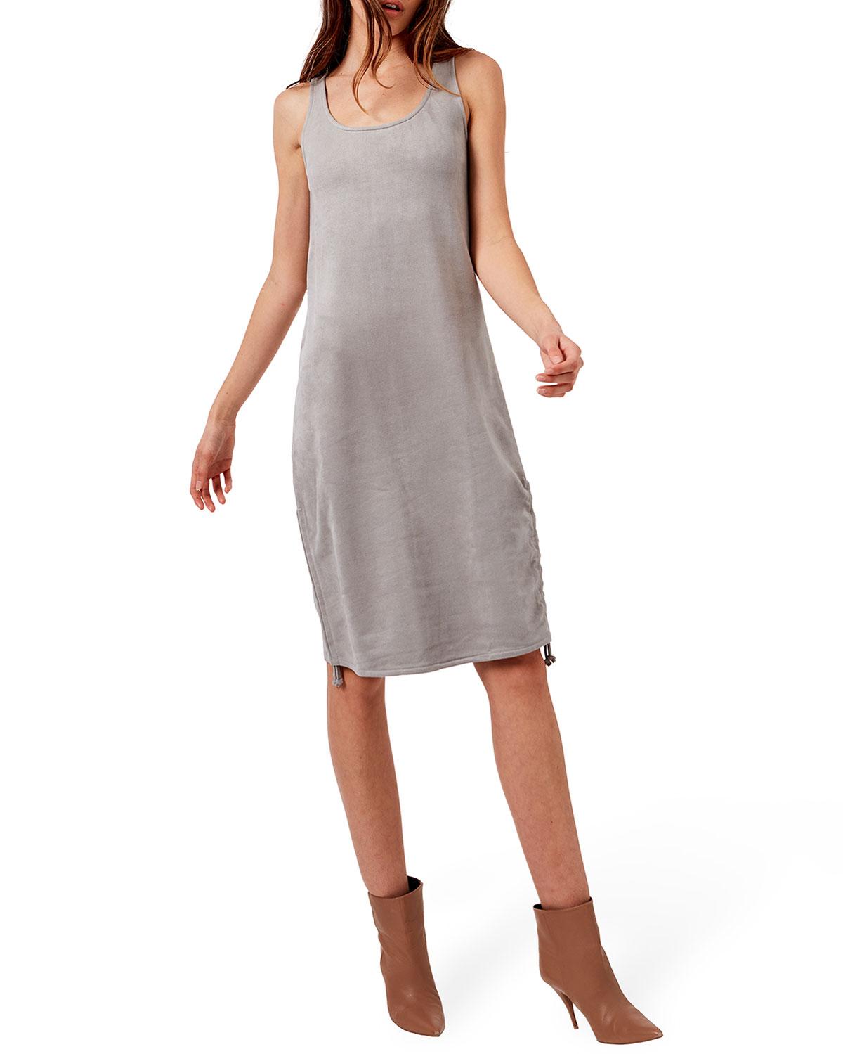 Zoe Sleeveless Vegan-Suede Terry Dress