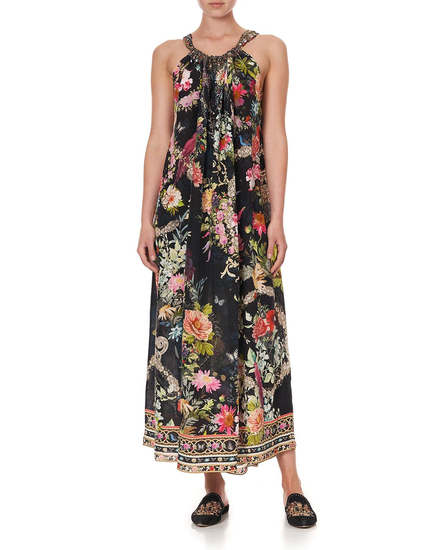 Floral Drawstring Maxi Coverup Dress