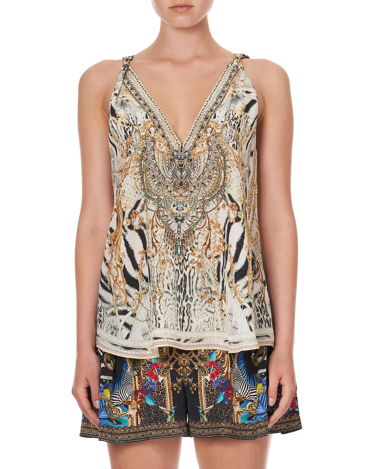 Printed Coverup Tank Top w/ Crystals