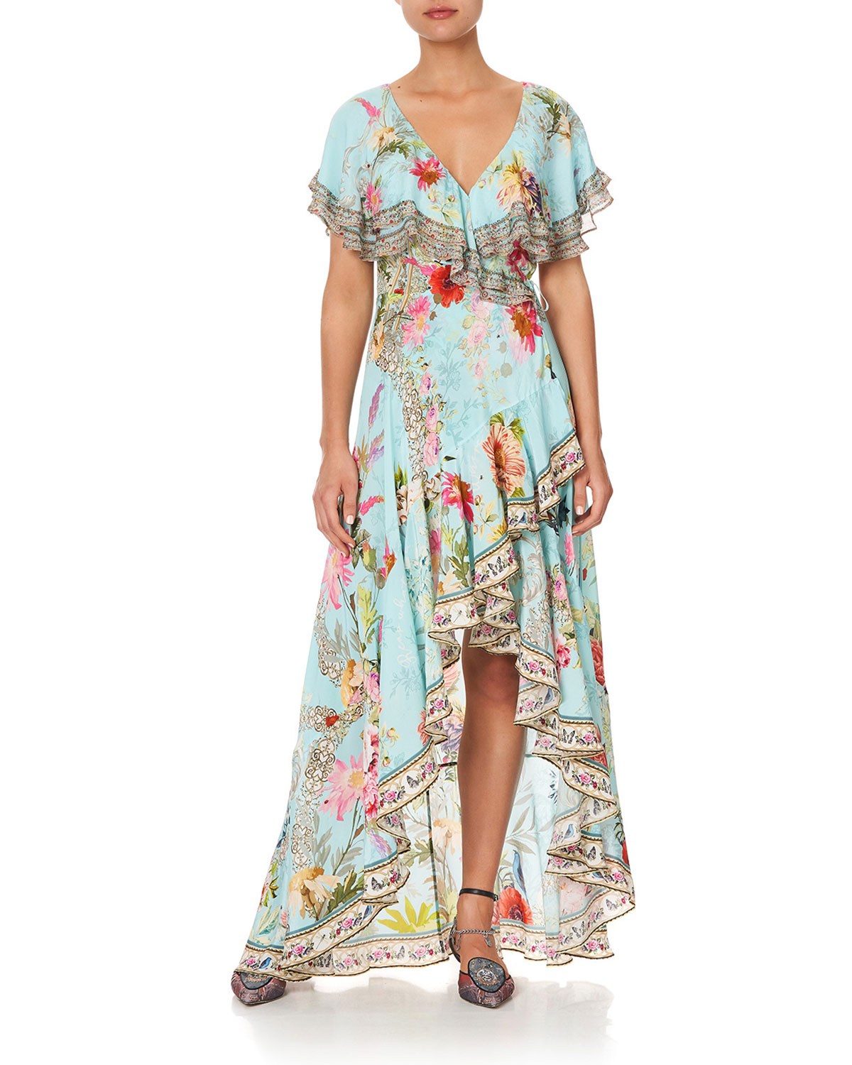 Frill-Sleeve Long Floral Coverup Dress