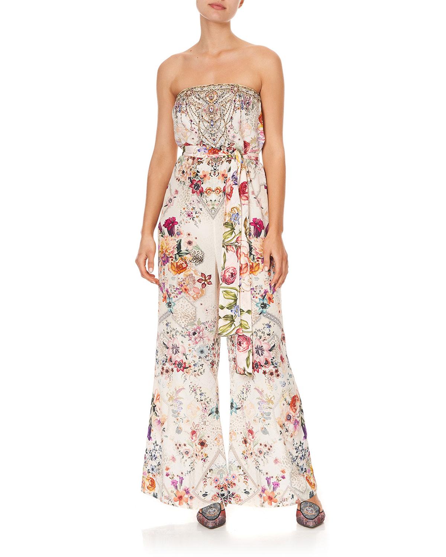Strapless Tie-Waist Floral Jumpsuit