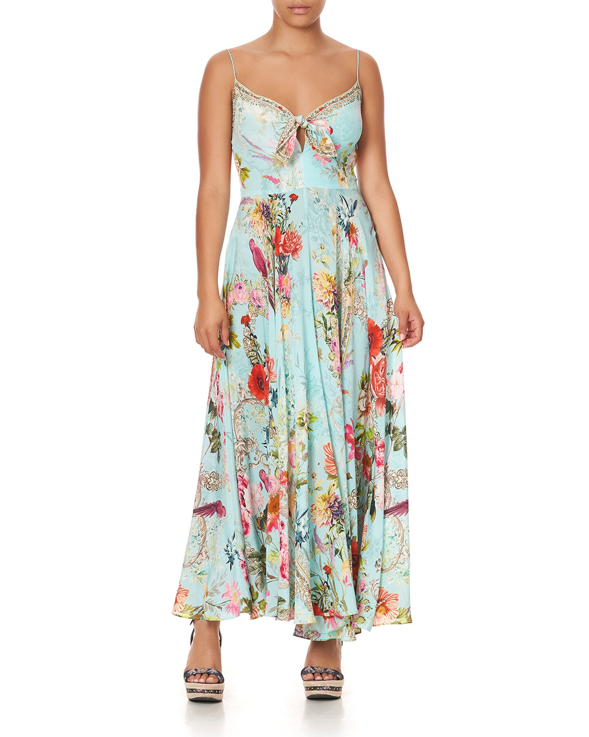 Long Floral Dress with Front Tie