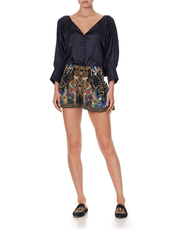 Rainbow Boom Silk Shorts with Side Flounce