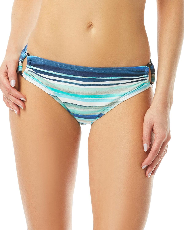 Stripe High-Waist Bikini Bottoms