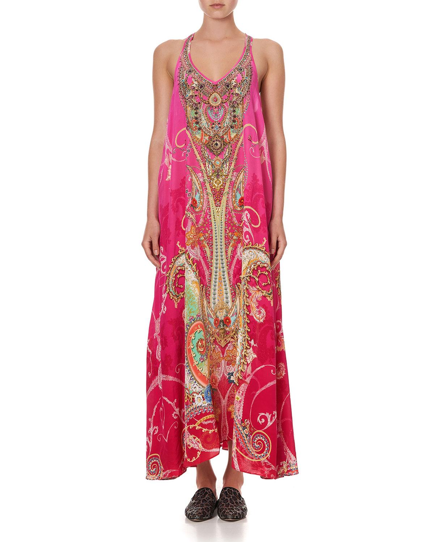 Racerback Long Silk Coverup Dress