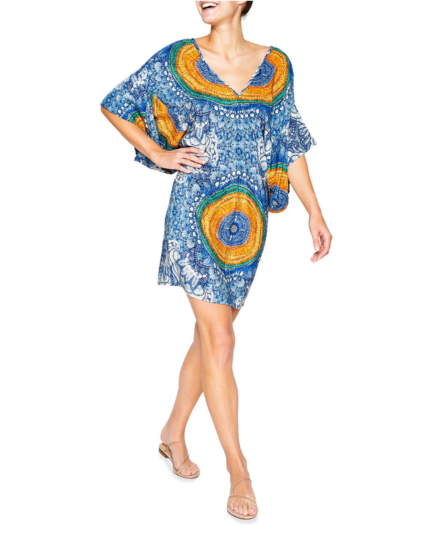 Alison Kimono-Sleeve V-Neck Dress