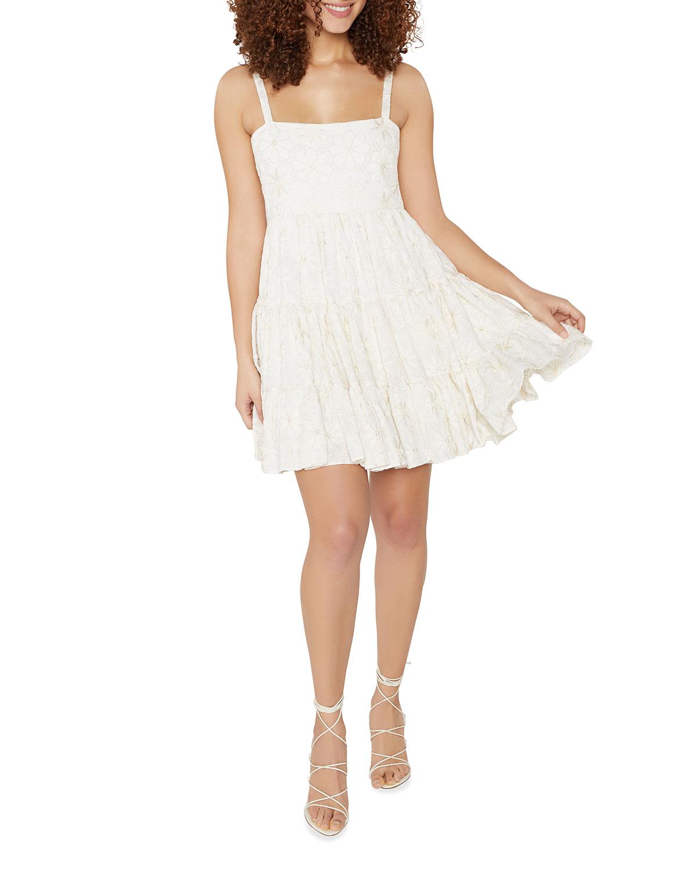 Mayelle Mini Dress w/ Metallic Embroidery