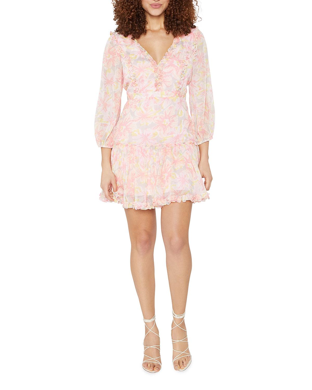 Mia 3/4-Sleeve Ruffle Dress