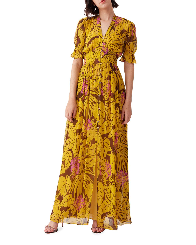 Diane Von Furstenberg ERICA PRINTED BUTTON-FRONT DRESS
