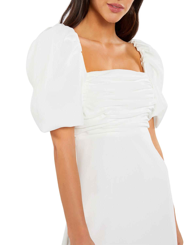 Odele Shirred Square-Neck Dress