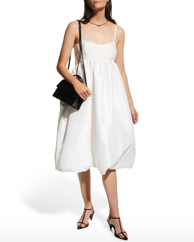 Bubble-Skirt Empire Midi Dress