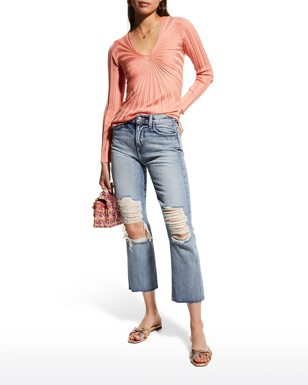Adele Distressed Straight-Leg Jeans