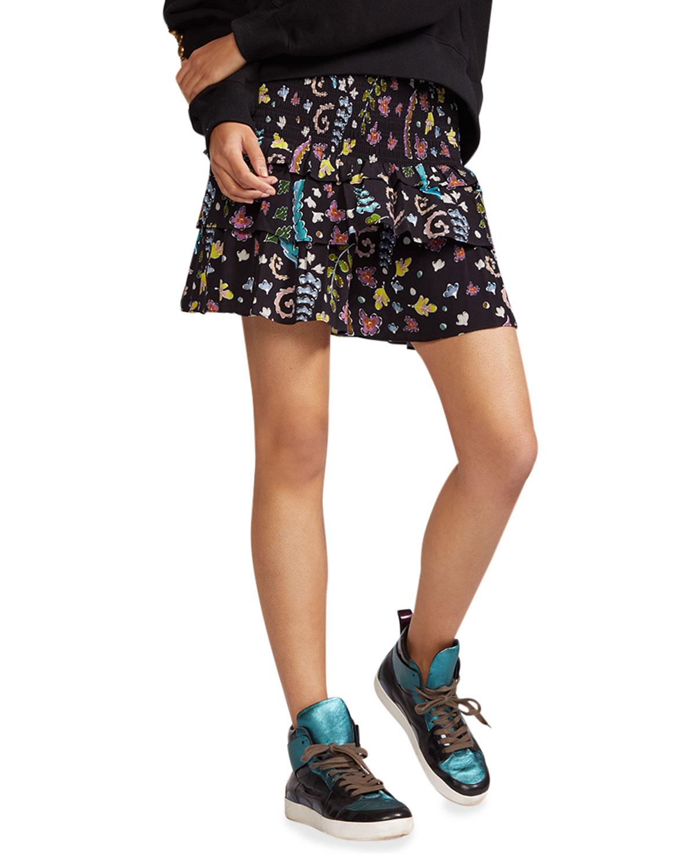Smocked-Waist Printed Ruffle Skirt