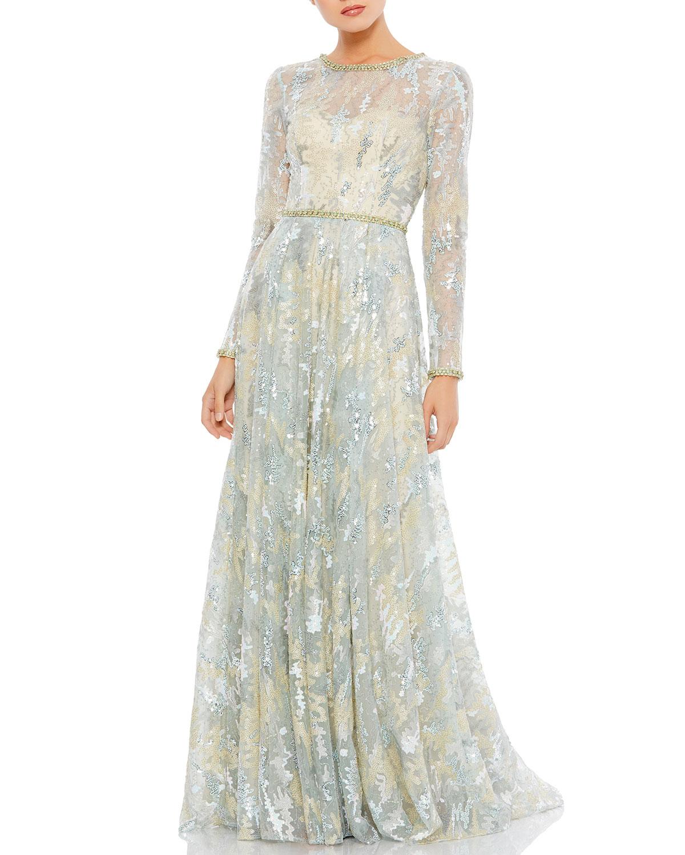 Sequin Net Long-Sleeve A-Line Gown