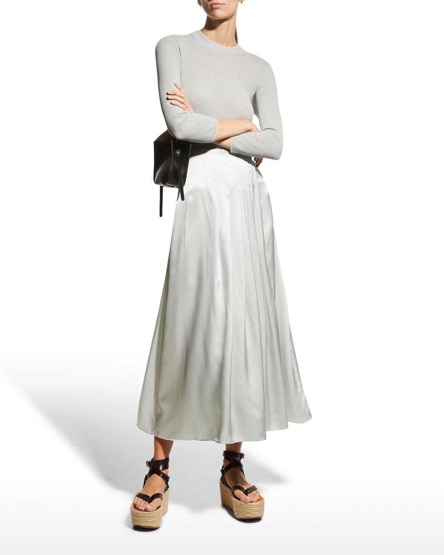 Silk Charmeuse Pleated Wrap Skirt