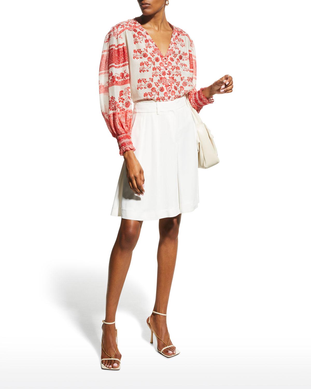Serena Mandarin-Collar Button-Front Top