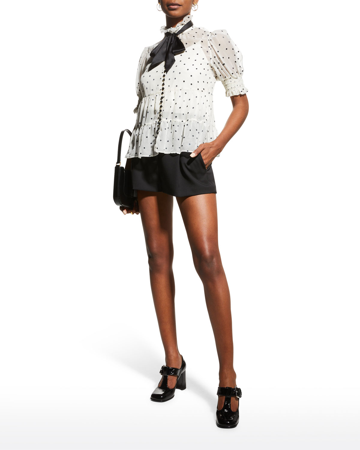 Vicky Puff-Sleeve Button-Front Blouse with Neck Tie