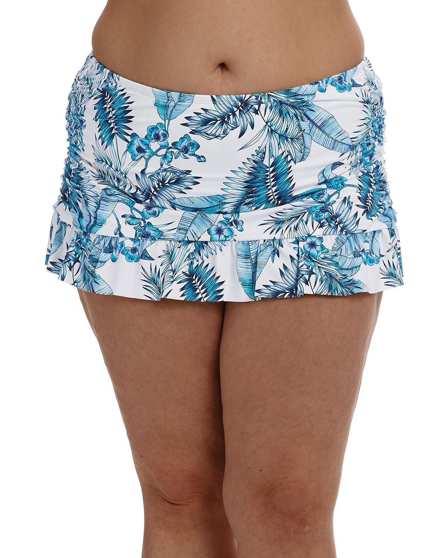 Plus Size Tranquility Ruffle Swim Skirt