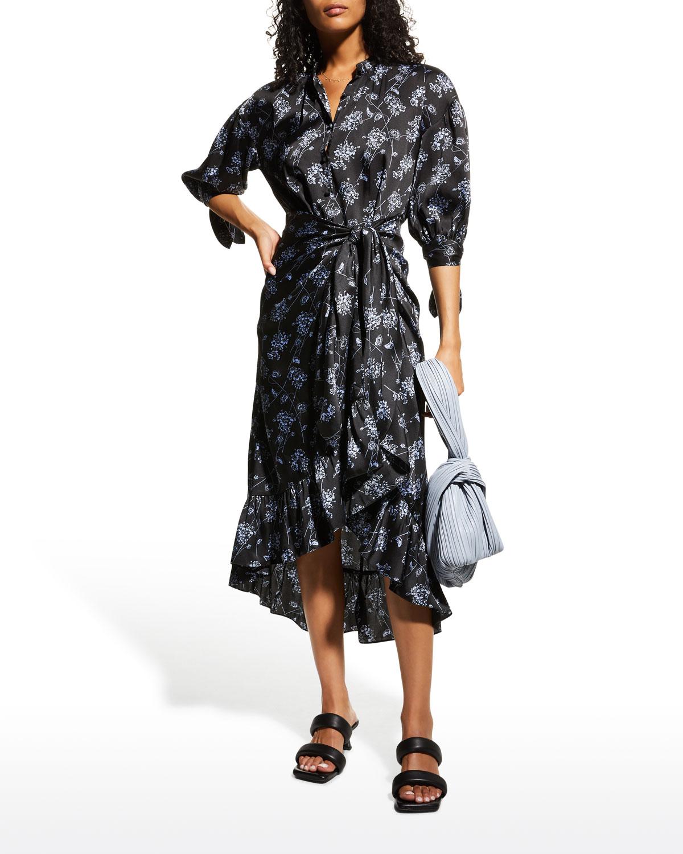 Halette Floral Tie-Waist Ruffle Dress