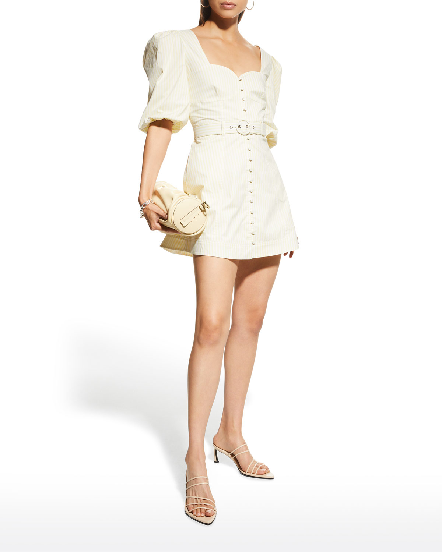 Juno Cotton Oxford Puff-Sleeve Mini Dress