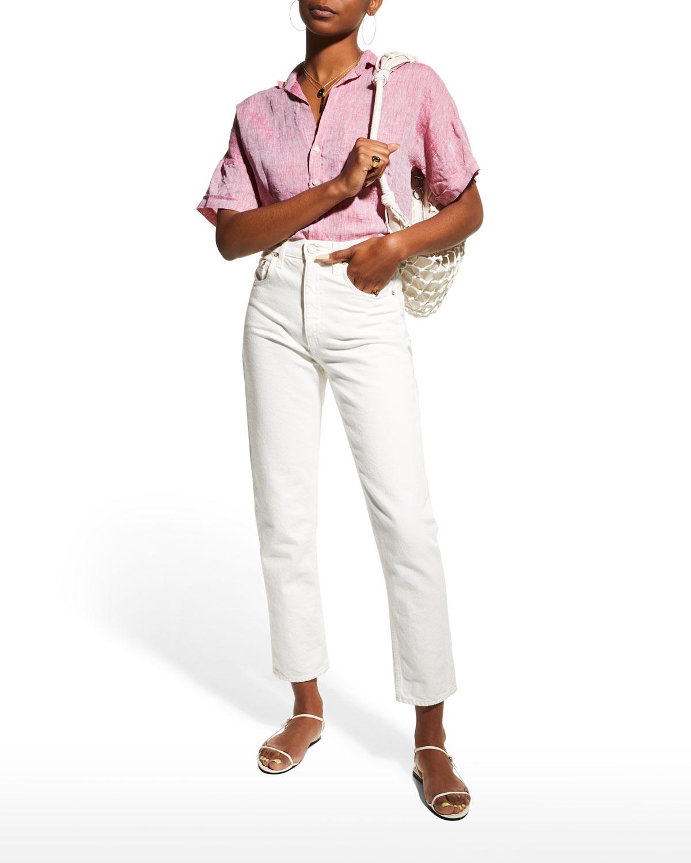 Rose Woven Button-Up Shirt