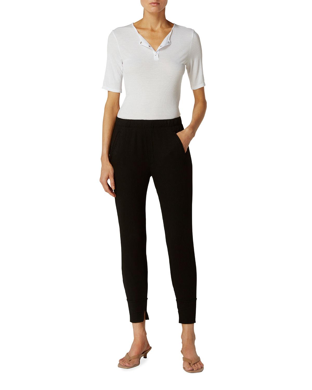 Short-Sleeve Fine Silk Henley Top