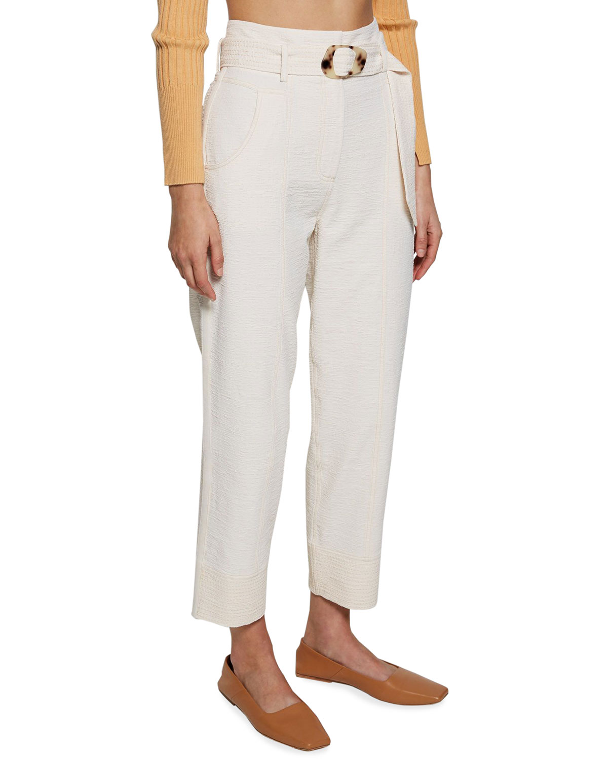 Gabrielle Cropped Belted Pants