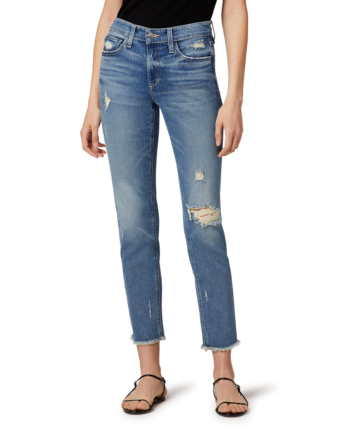 The Lara Ankle Jeans with Frayed Hem