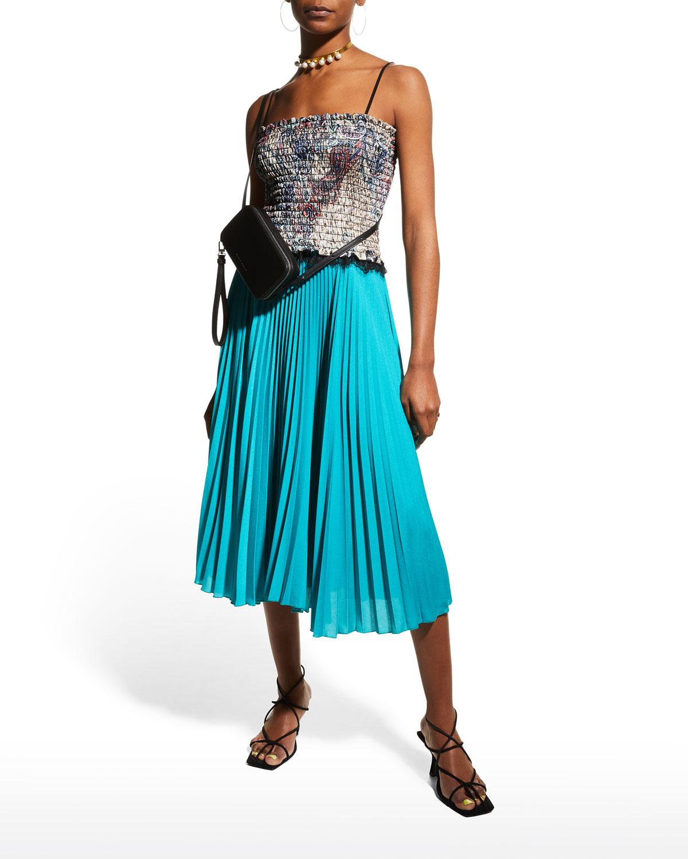 Gabi Pleated Chiffon Dress with Smock Bodice