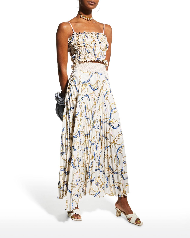 Celi Chain-Print Pleated Maxi Skirt