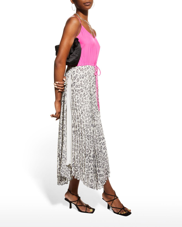 Saba Two-Tone Asymmetric Slip Dress